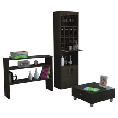Combo mueble de bar + arrimo + mesa de centro madera wengué