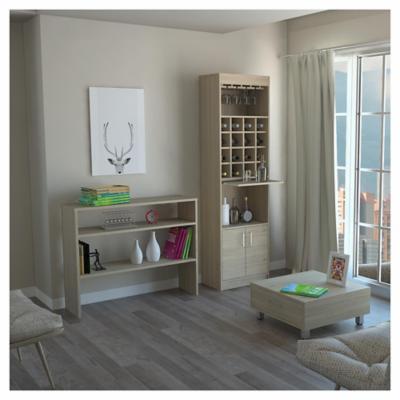 Combo mueble de bar + arrimo + mesa de centro madera Rovere