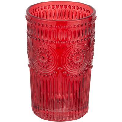 Vaso vidrio 400 ml rojo
