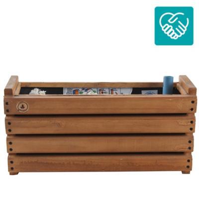 Macetero rectangular madera habano
