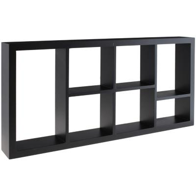 Repisa rectangular de melamina 61x30x7,6 cm negro