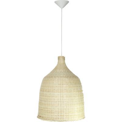 Lámpara de colgar Mimbre Campana II Blanca