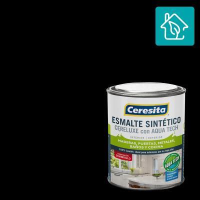 Esmalte Sintetico Cereluxe Aquatech Semibrillo Negro 1/4 gl