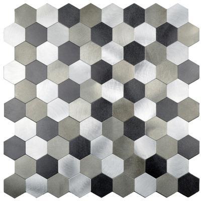 Mosaico auto-instalable aluminio gris Panal 28X29 cm