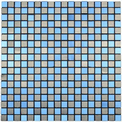 Mosaico auto-instalable aluminio vidrio Depp azul 30X30 cm