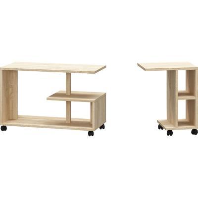 Combo de arrimo + mesa de centro oak