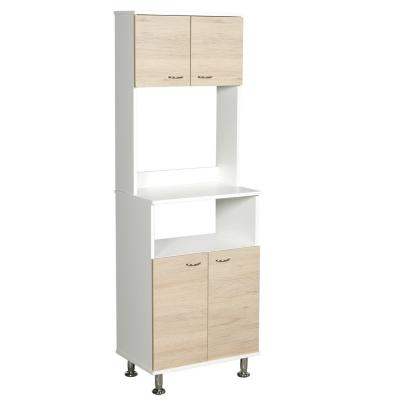 Mueble para microondas 54x160x35 cm Blanco y Oak
