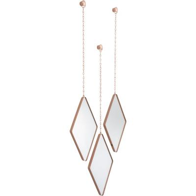 Set 3 espejos dima 28x17 cm cobre cada uno con cadena de 38 cm
