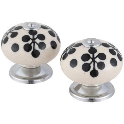 Set de perillas Trébol porcelana 40 mm 2 unidades