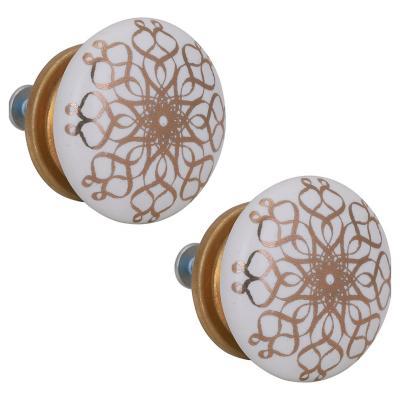 Set de perillas porcelana arabesco 2 unidades