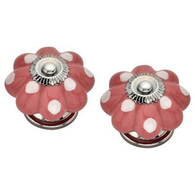 Set de perillas porcelana gajos rosado 2 unidades
