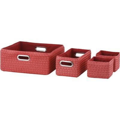 Set de 4 canastos 35/14 cm fibra rojo