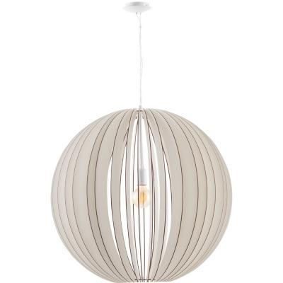 Lámpara de colgar Acero y madera Cossano Blanca