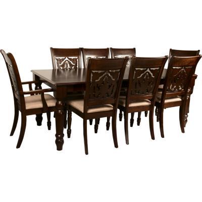 Juego de comedor 6 sillas +  2 sitiales 197x97 Chocolate