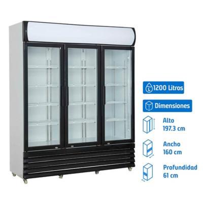 Visi-Cooler 3 puertas 1200 litros negro/blanco