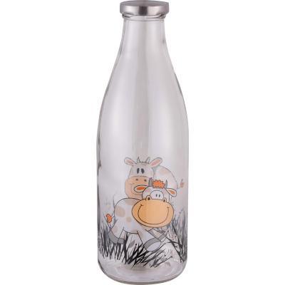 Botella vidrio diseño 1 l con tapa