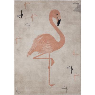 Alfombra flamenco 120x170 cm blanco/rosado