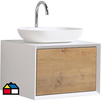 Mueble vanitorio 60 cm blanco- madera