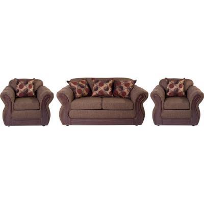 Juego de living sofá 3 cuerpos + 2 sillones chocolate