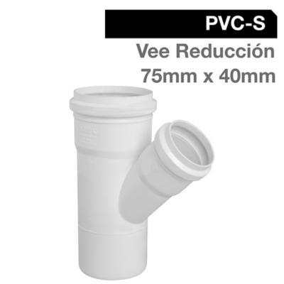 Vee Reducción PVC-S Bco c/goma 75mm x 40mm Blanco 1u