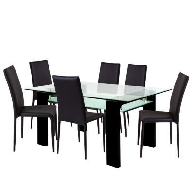 Juego de comedor 6 sillas 160x97 Negro