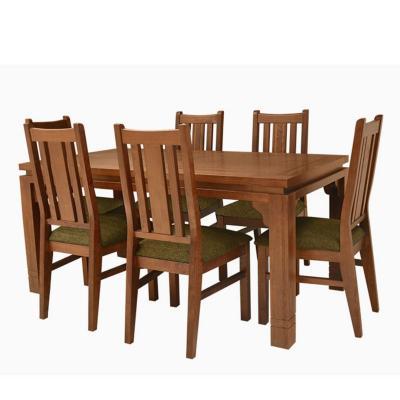 Juego de comedor 6 sillas Café/Verde