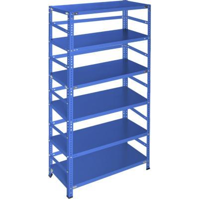 Estantería azul con retenedores y 6 bandejas 90x60x200 cm