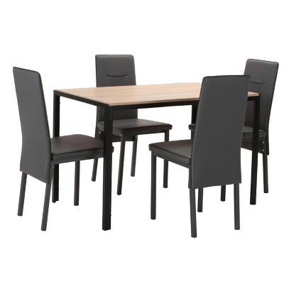 Comedor 120x70x75 cm vidrio/metal 4 sillas