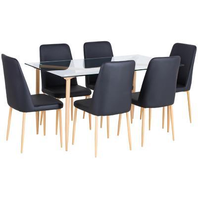 Comedor 150x80x75 cm vidrio/metal 6 sillas