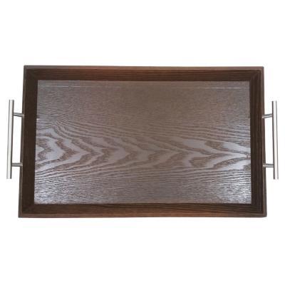 Bandeja madera café asas de metal