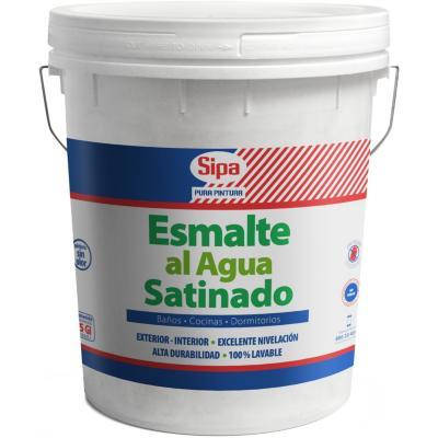 Esmalte al  agua satinado blanco 5gl