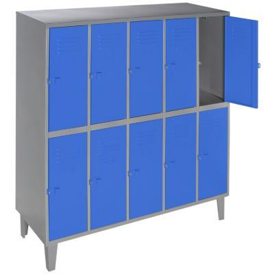Lockers metálico 5 cuerpos 10 puertas color azul