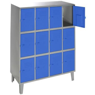 Lockers metálico 4 cuerpos 12 puertas color azul