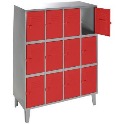 Lockers metálico 4 cuerpos 12 puertas color rojo