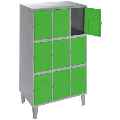 Lockers metálico 3 cuerpos 9 puertas color verde