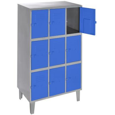Lockers metálico 3 cuerpos 9 puertas color azul