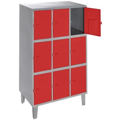 Lockers metálico 3 cuerpos 9 puertas color rojo