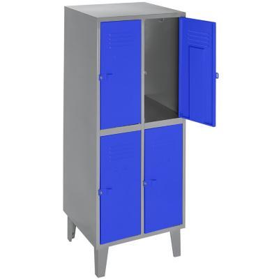 Lockers metálico 2 cuerpos 4 puertas color azul