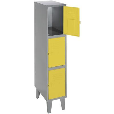 Lockers metálico 1 cuerpo 3 puertas color amarillo