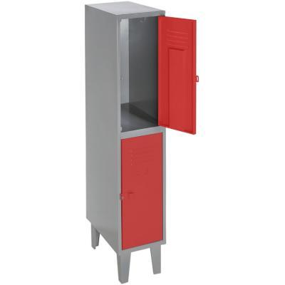 Lockers metálico 1 cuerpo 2 puertas color rojo