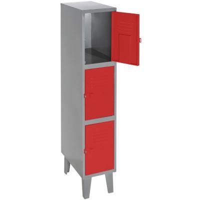 Lockers metálico 1 cuerpo 3 puertas color rojo
