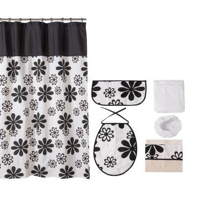 Juego de baño 7 piezas Flores negras