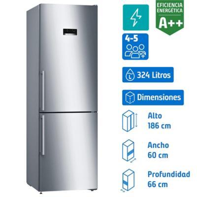 Refrigerador no frost bottom freezer 324 litros gris