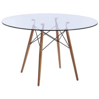 Mesa eames cubierta de vidrio