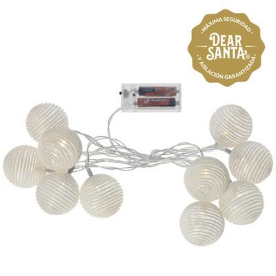 Luz led 10 luces esferas b.calido con batería