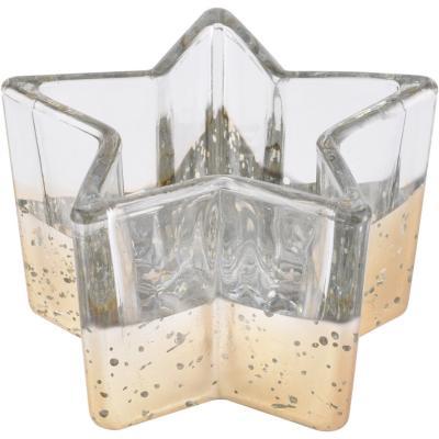 Porta tealight vidrio dorado bajo