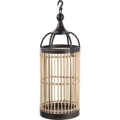 Porta vela metalico/bambu 22x58 cm