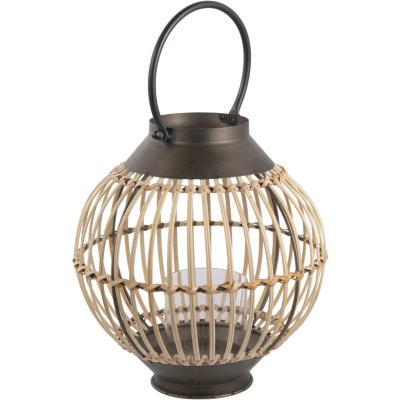 Porta vela metalico/bambu 26x29 cm