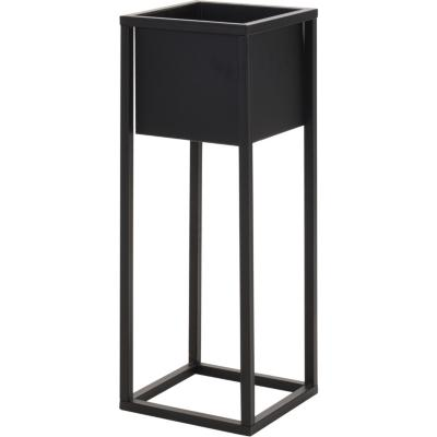 Macetero metal con base negro 60 cm