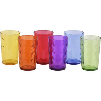 Set vasos6 unidades vidrio colores